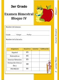 examen montenegro 3 grado primaria 3er grado bloque 4 examen lainitas