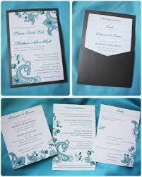 rustic pocket wedding invitations turquoise paisley floral clutch pocket wedding invitation