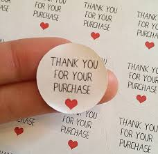 Anniversary Cards And Stationery Ebay 50x Thank You For Your Purchase Stickers Kiss Cut Round Order