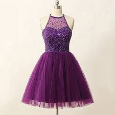 purple tulle high neck purple homecoming dress tulle homecoming dress with key