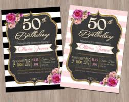 50th birthday invitation for women 50 and fabulous