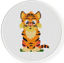 charts members only tiger and butterfly cross stitch pattern