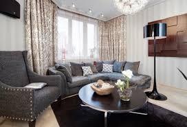Family Room Drapery Ideas White Striped Wallpaper With Black Floor Lamp For Elegant Family