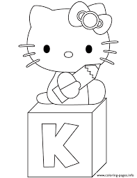 hello kitty k is for kitty coloring pages printable
