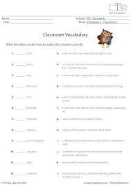 primaryleap co uk classroom vocabulary worksheet english