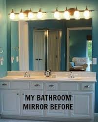Framing A Large Bathroom Mirror Before After Bathroom Mirror Makeovers Hooked On Houses