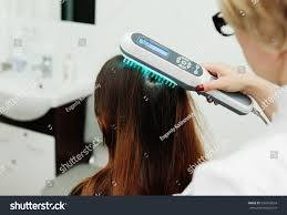 light treatment for scalp psoriasis treatment scalp hair structure study phototherapy stock photo