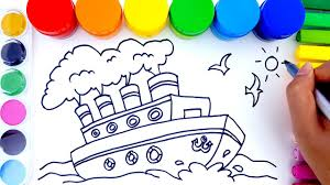 learn colors for children with coloring pages ship how to draw