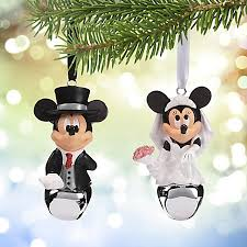 ornament set mickey and minnie wedding bells