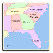 map usa southeast southeast title and processing