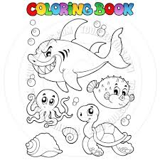 cartoon coloring book sea creatures by clairev toon vectors eps