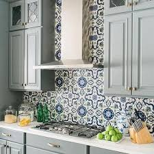 Mediterranean Kitchen - blue mediterranean kitchen tiles design ideas