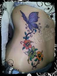 rib side purple butterfly with hibiscus tattooshunt com