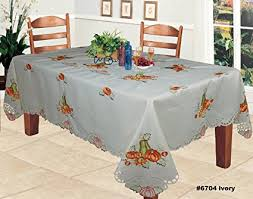 autumn harvest table linens amazon com fall autumn harvest thanksgiving tablecloth embroidered