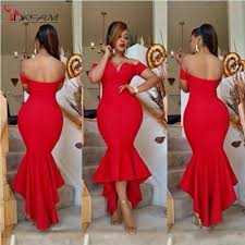african 2016 off the shoulder red mermaid prom party dresses high
