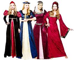 Tudor Halloween Costumes Royal Medieval Ladies Fancy Dress Book Character Tudor Womens