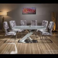 Ebay Laminate Flooring Modern Grey Glass Top 1 6m Dining Table Set 6 X Silver Velvet