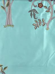 Faux Silk Embroidered Curtains Beige Blue Embroidered Bird Tree Faux Silk Fabric Sles
