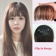 clip in fringe clip in front closure human hair extensions fringe bangs black