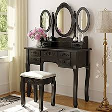 Makeup Tables For Bedrooms Amazon Com Tribesigns Vanity Makeup Table Set With Mirror U0026 Stool