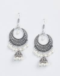 white earrings buy fabindia silver metal amna em 2016 jhumka earrings online