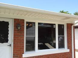 bow window replacement with 3 lite double hungs picture window after picture window with double hungs for air flow