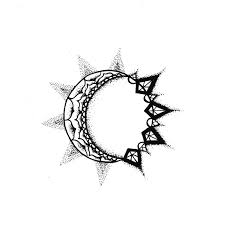black outline sun and half moon design