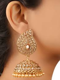 jhumka earrings buy gold jhumka earrings by blissful at jivaana