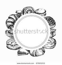 sketch bakery products different kinds bread stock vector