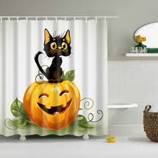 halloween pumpkin black cat fabric shower waterproof and mould
