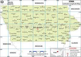 map of iowa towns latitude and longitude map