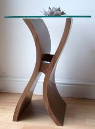 curved wood side table exclusive side table designer furniture wood and glass