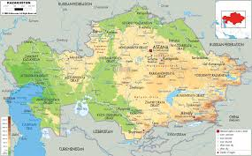 Asia Geography Map Physical Map Of Kazakhstan Ezilon Maps