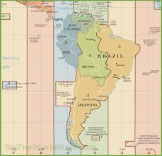 Italy Time Zone Map by South America Time Zone Map
