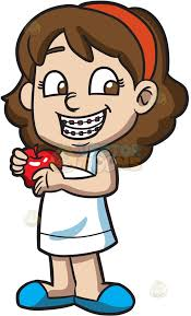 apple cartoon a happy girl with braces and an apple cartoon clipart vector toons