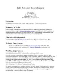 mechanic resume examples audio visual technician resume sample free resume example and telephone installer cover letter application administrator cover cable technician resume example cable technician resume example within
