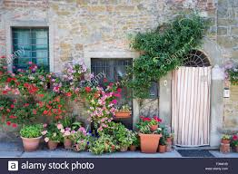 potted plants and containers in volpaia tuscany italy stock