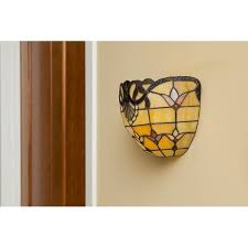 Wireless Wall Sconce River Of Goods 8 Inch Tiffany Style Stained Glass Allistar