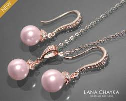 pink pearl gold necklace images Rose gold pink pearl jewelry set bridal pearl necklace earring jpg