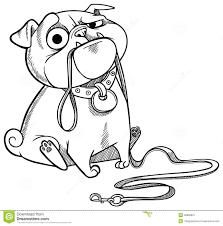 sad pug puppy stock vector image 49383831