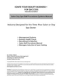 salon spa business salon spa staff policies procedures and