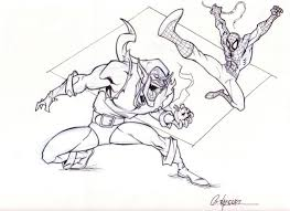 drawn spider man spiderman green goblin pencil and in color