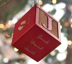 personalized baby block ornaments pottery barn kids