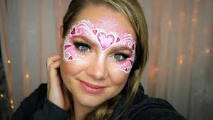 heart mask valentines face painting makeup tutorial youtube