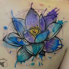 watercolor lotus flower tattoo on right back shoulder