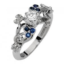diamond rings london images Unusual diamond ring with sapphire flowers london victorian ring uk jpg