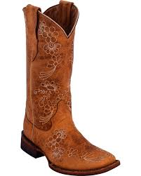 light colored cowgirl boots ferrini women s daisy light brown floral stitched cowgirl boots