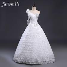 one shoulder wedding dresses aliexpress buy fansmile cheap one shoulder flower wedding
