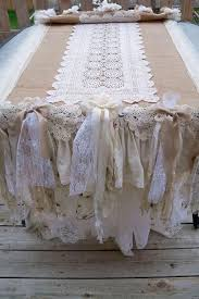 shabby chic table runner round tables with white table cloths and burlap runnrs table