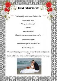 post wedding reception wording exles sles of wedding announcement wording lovetoknow